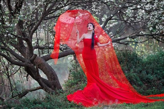 美丽美人里花开树下的中国红美女-乡村风景也丰田a美人图片