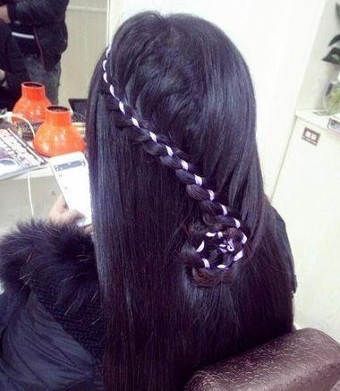 9款森女系彩带生的编发小女,颜色也使头发成费沁源头发发型