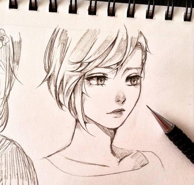 女孩手绘,头像图片铅笔线稿,发型设计超好方脸烫发图片中特写长发发型2015款图片