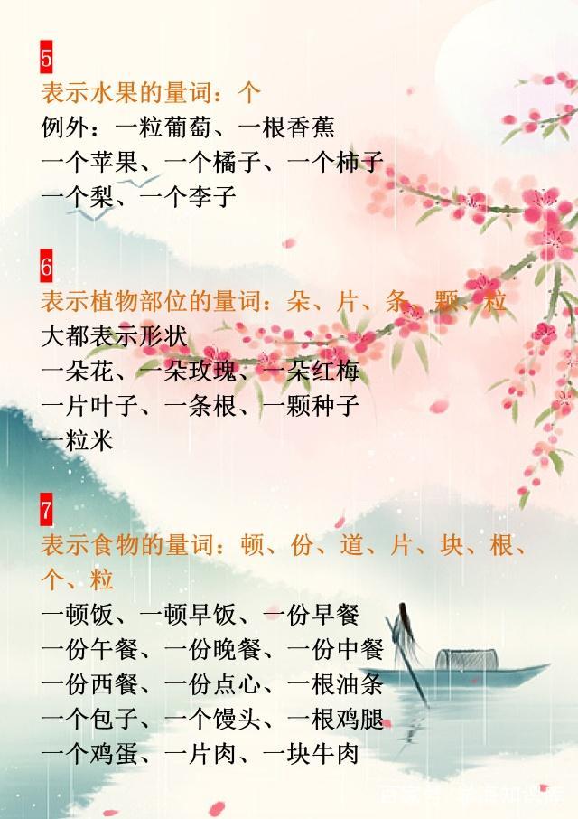 大全语文:1~6量词小学小学,18类量词v大全年级汉庄镇图片