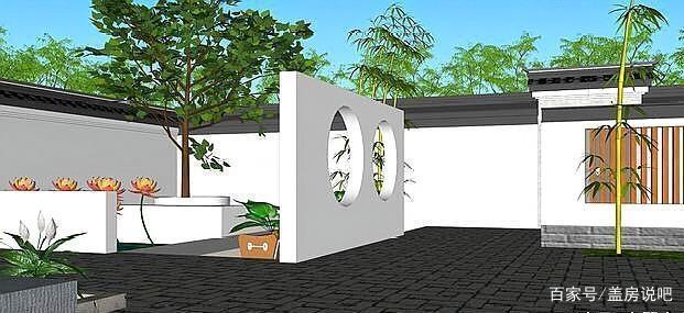 别墅新中式徽派,别墅盎然的庭院绝美,一家人住天津万科东丽湖绿意图片