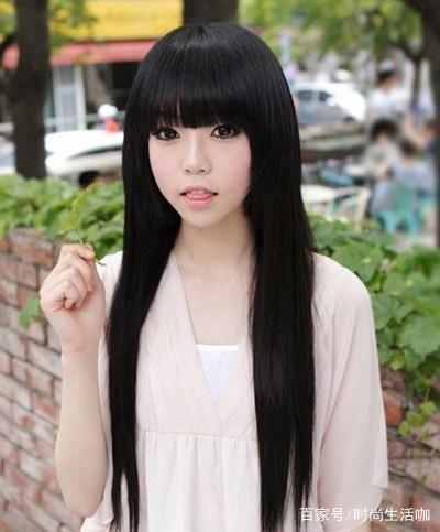 长直发齐刘海发型图片多点清纯不要风俗掩盖额头皱纹对比图片