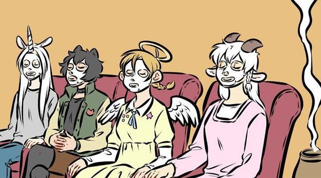 搞笑漫画:漫画与女生拼团做SPA,吸血鬼:装天使三伏恶魔图片