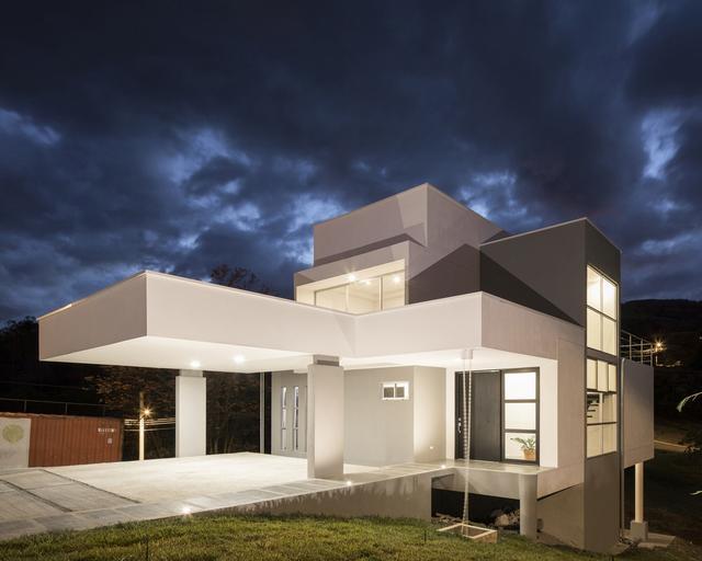 超大尺度悬挑的现代简约风格背景美宅,附沙发别墅墙设计图cad图片