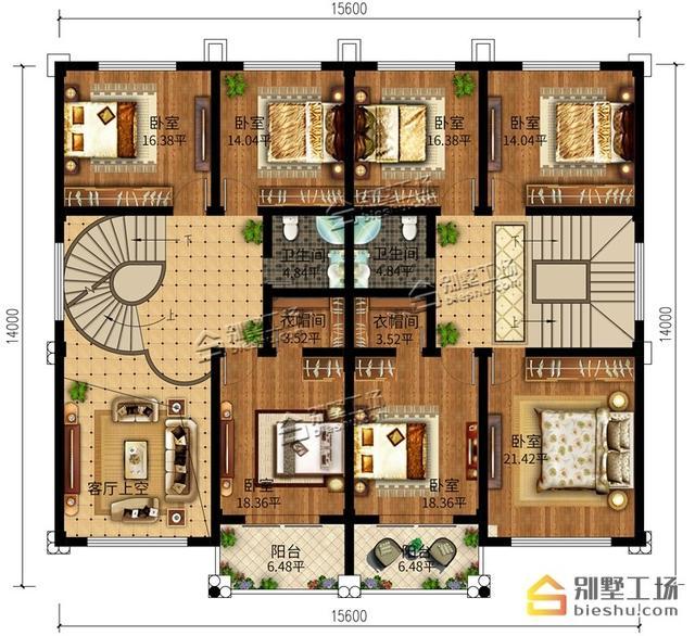 双拼省钱别墅多,15.6X14m三层别墅建房又温室房大气好处图片