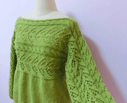 编织教程:新手可以挑战的女士棒针横织衣织毛