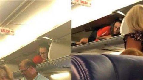西南航空乘客搭飞机放行李 一开行李架:大变活人
