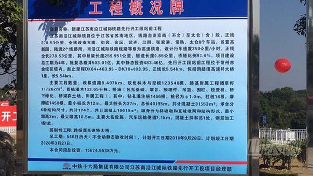 江苏南沿江高速铁路正式开建,沿途仅5A景区多
