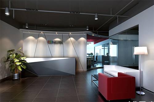 低调奢华有内涵的办公室前台装修效果