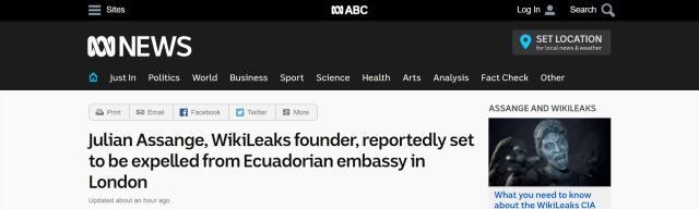 维基解密创始人阿桑奇将被逐出厄瓜多尔驻伦敦大使馆