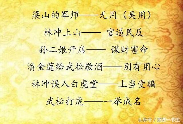 有关《水浒传》的歇后语集锦,一起来学习吧