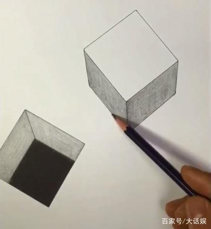 大神素描正方形,一个无底洞一个飞起来,原来素