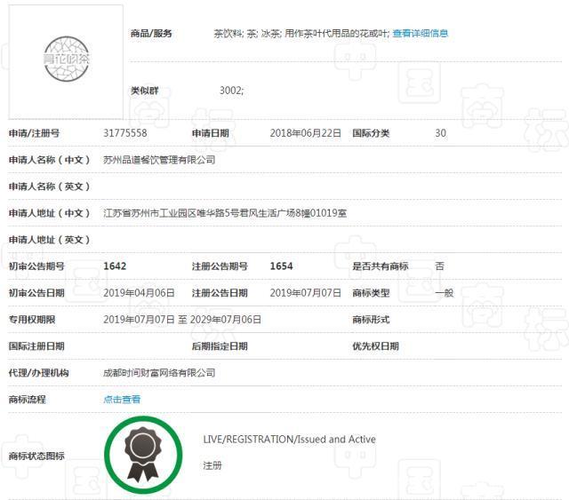 中国商标注册 寻花吻茶