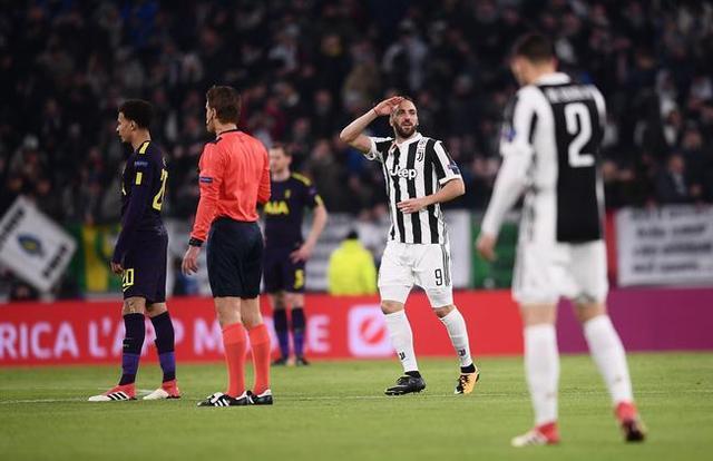 歐冠-伊瓜因2球+失點 凱恩破門 尤文半場2-1熱刺